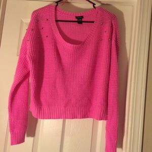 Neon pink crop sweater
