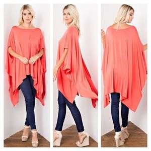 Tops - New Arrival-Coral Round Neck Oversize Tunic Poncho