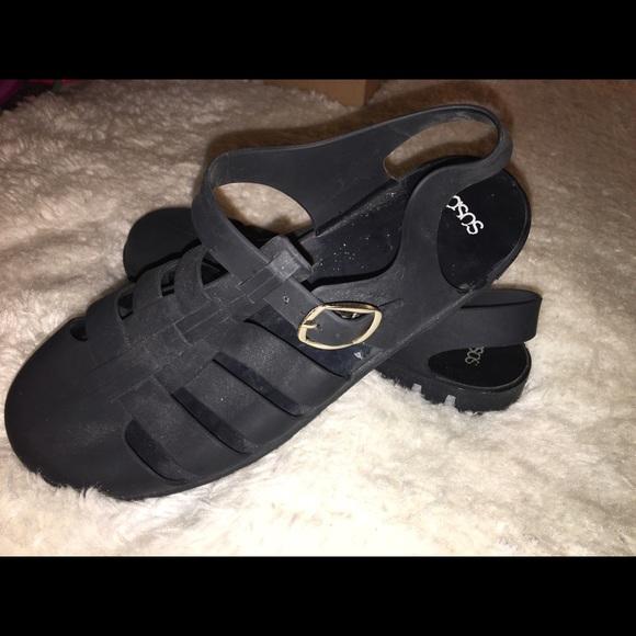 4a31ccbb0d4 ASOS Shoes | Matte Black Jelly Sandals | Poshmark