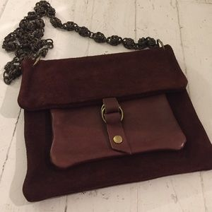 Gorgeous brown/maroon suede and leather chain bag