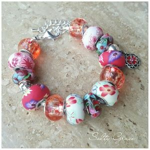 Salty Grace  Jewelry - Owl and floral strawberry pink charm bracelet