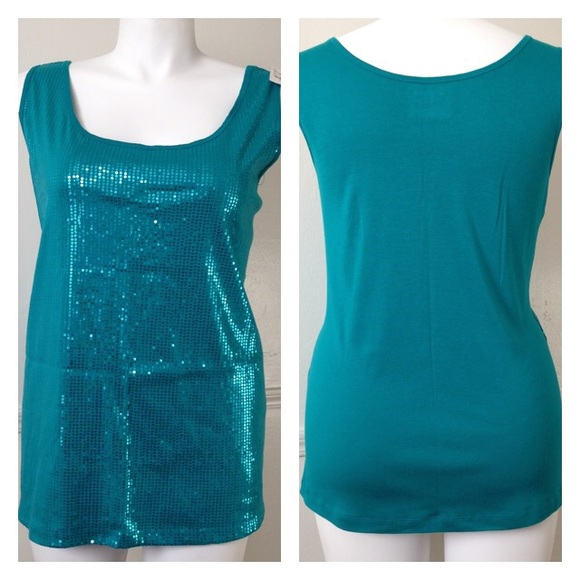 364639ee5b NWT Turquoise Sequin Lane Bryant Tank Top