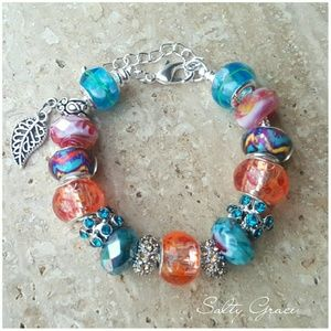 Salty Grace  Jewelry - Tropical color, Aztec pattern charm bracelet