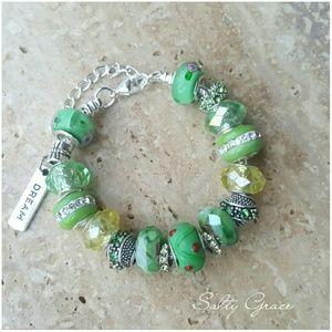 Salty Grace  Jewelry - Dream, candy apple green charm bracelet