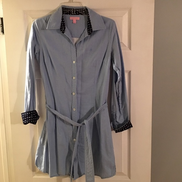 79ce6c36 Lilly Pulitzer Tops | Blue Button Down Shirt Dress | Poshmark
