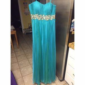 Peacock & Gold Prom/Bridesmaid Dress