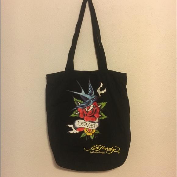 2075b2bcc66e Ed Hardy Handbags - Ed hardy bluebird rose small tote   purse