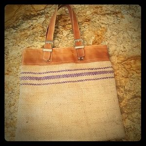 Leather Handled Tote Bag