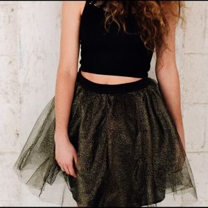 Black and Gold Tulle Skirt NEW
