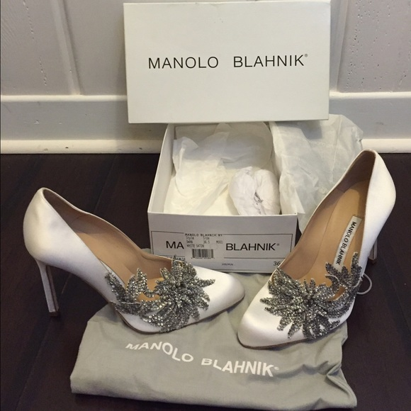 c97827a6f8757 Manolo Blahnik Shoes | Swan Embellished Satin Pump White | Poshmark