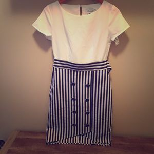 Closet London Tie Back Stripes & Buttons Dress