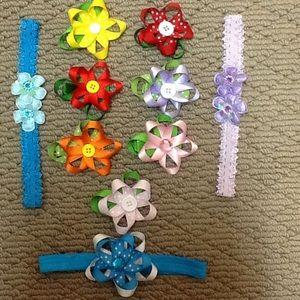 Other - Set of 10 Flower Barrettes & Headbands