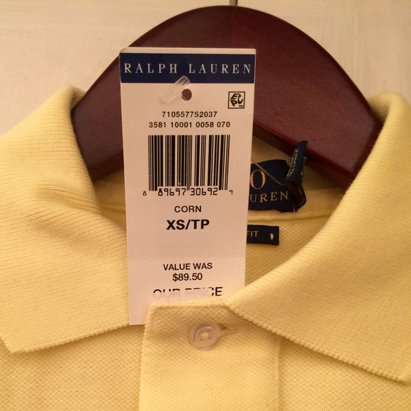XS  Yellow (Corn)Polo Shirt new, unused w  tags. NWT. Polo by Ralph Lauren 80a57210e435