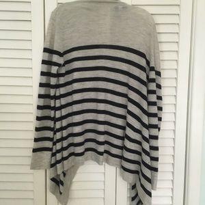 Autumn Cashmere Tops - Autumn Cashmere striped open sweater jacket