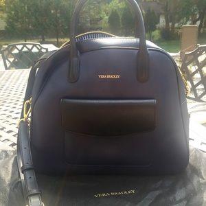 VERA BRADLEY bowler satchel navy/black medium size