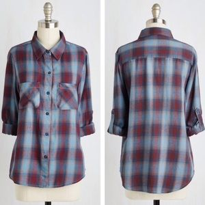 ModCloth Blue & Purple Plaid Flannel Shirt