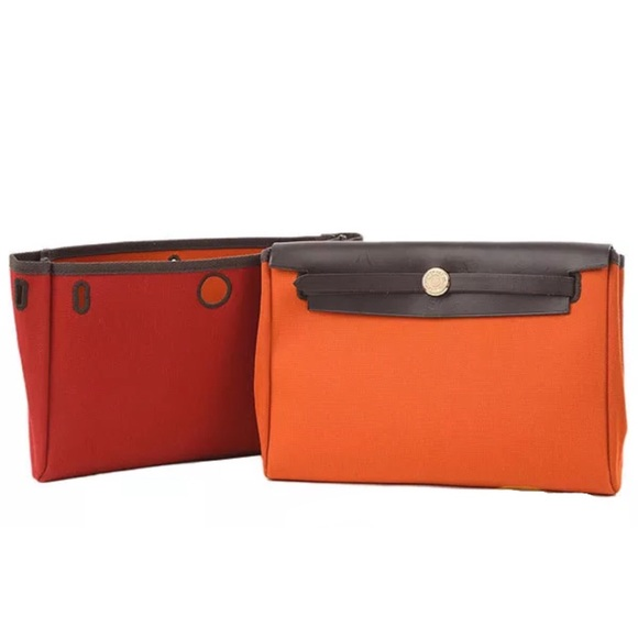 4ea8da15a58e Hermes Handbags - Hermes canvas calf clutch W  replacement bag