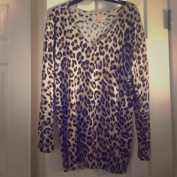 8a763e217075 Michael Kors Sweaters | Animal Print Vneck Sweater | Poshmark
