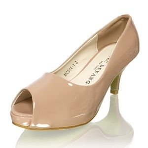 "Tweens 2.5"" Heels Rounded Peep Toe Platform Pumps"