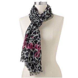 JUICY COUTURE GRAY & BLACK LEOPARD WOVEN SCARF
