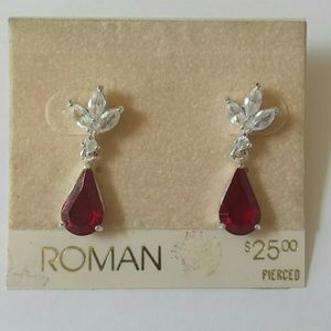 Red and Clear Crystal Drop Dangle Earrings