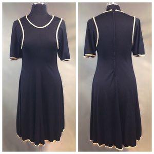Vintage Vtg ~70s black embellished dress