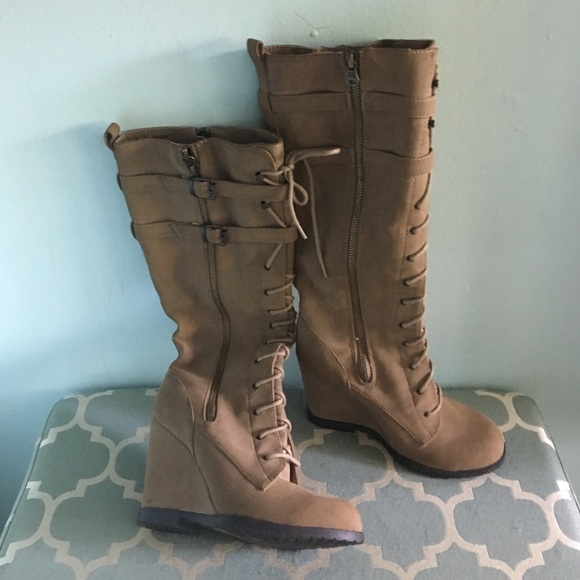 25% off Mia Shoes - Knee high lace up wedge boots from ! caps's ...