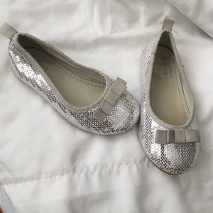 Other - Silver sequin ballerina flats holiday shoes
