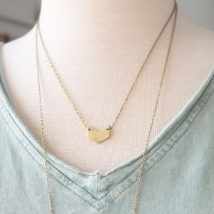 Mini Chevron Brass Necklace