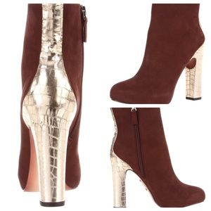 Boutique 9 Shoes - Tana Brown and Gold Platform Bootie by Boutique 9