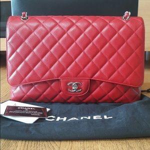 Chanel maxi single flap bag caviar Red SHW
