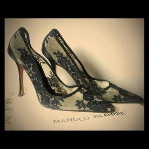 Manolo Blahnik Black Lace Pumps