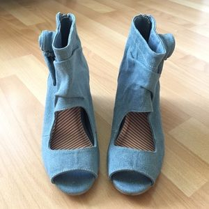 80%20 Chambray Denim Wedges with Hidden Heel