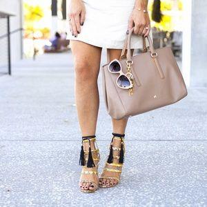 Alejandra G.  Shoes - Alejandra G. Snake Skin Tassel Heels