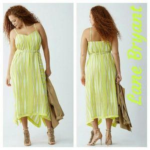 Lane Bryant Dresses & Skirts - NEW BELTED SCARF-HEM DRESS green striped 14 16 1x