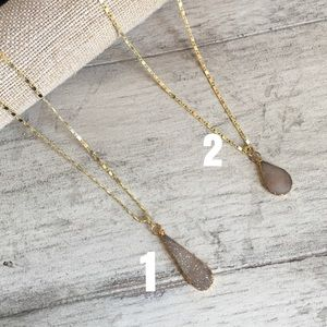 Natural Druzy Pendant Necklaces