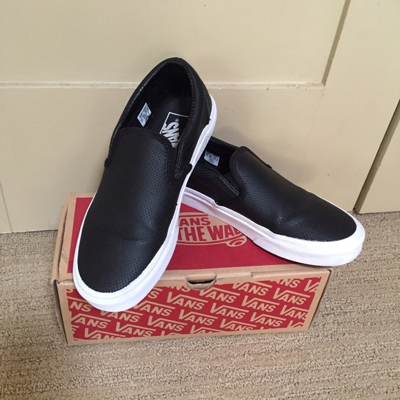 be33bbfb14 Black Vans perf leather slip on. Gently used. M 57d1cbb4680278ea23004ac3