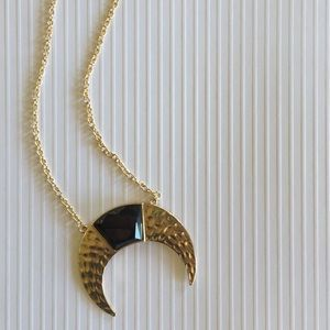 Trendy gold and black long necklace