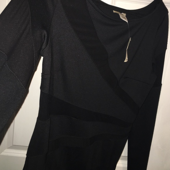 arden b long sleeve black dress