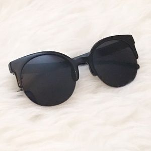 Retro Round Semi-Rimless Black Sunglasses