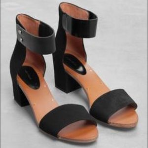 16ae6355337c other stories Shoes - Black suede   leather block heel sandals