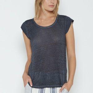 Joie Neyo Linen Cap Sleeved Distressed Tee-Shirt