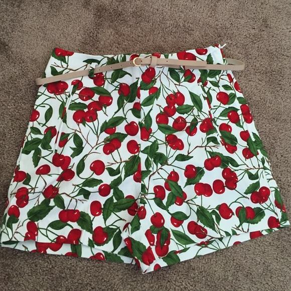 Zara Shorts - Zara high waisted cherry shorts fitted retro