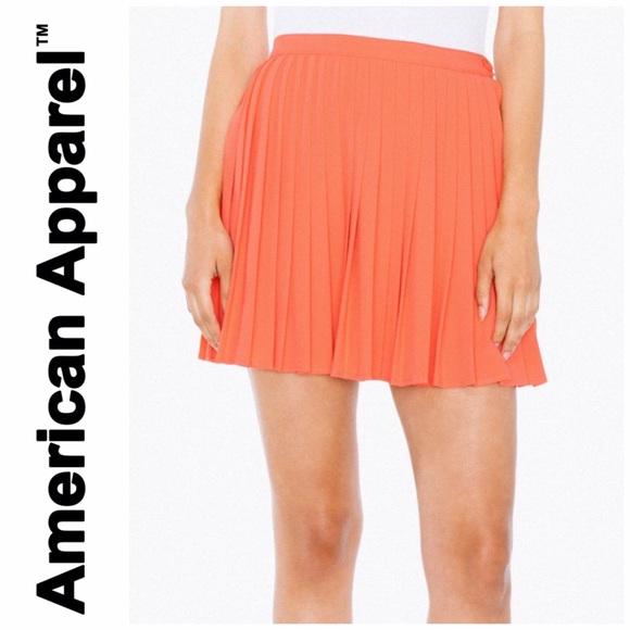 90bc183c75 American Apparel Skirts | Aa Crepe Sunburst Pleated Skirt Coral ...