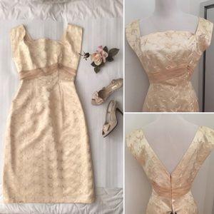 Dresses & Skirts - Vintage Cream Embroidered Satin Empire Dress