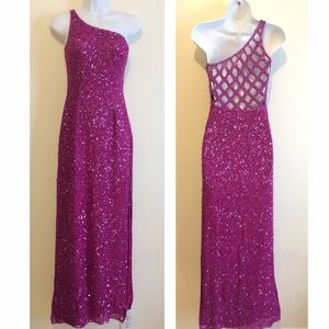 Scala Dresses & Skirts - Fuschia Beaded Gown Scala Homecoming Prom