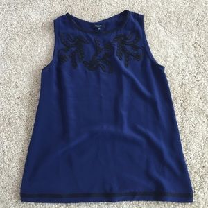 Madewell silk navy with black accents tank