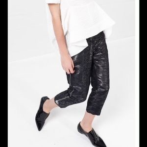 And Chic Pants - NWT Metallic pants, cuff detail.