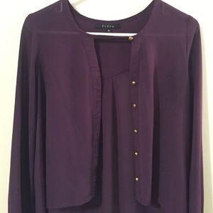 FIORE - Purple High-Low Blouse with Gold Buttons