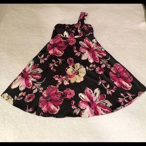 One-shoulder large floral print dress- The Limited